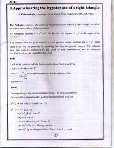 An Alternative to Pythagorian Theorem - Part 1 of 3